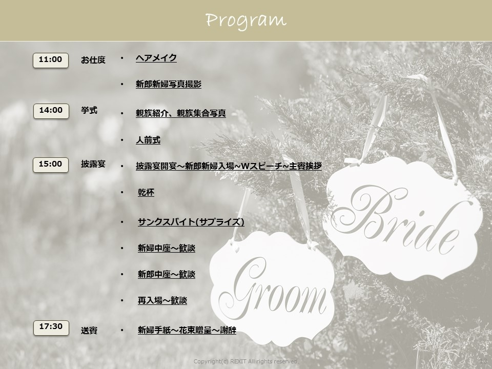 The History Wedding_進行表